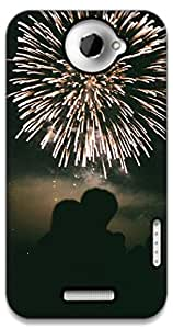 The Racoon Grip Fireworks of Love hard plastic printed back case / cover for HTC One X
