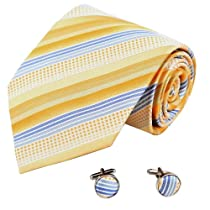 A2123 Yellow Gold,blue Stripes Woven Silk For Husband 2PT By Y&G