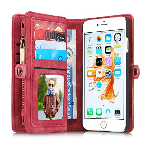 Buy Discount For iPhone 6/ iPhone 6S Case, Charminer Multi-slot Retro Zipper Wallet Leather Detachab...