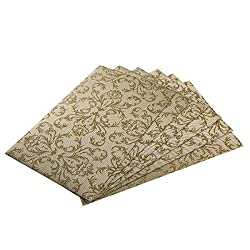 SiCoHome Placemats Set of 6,Waterproof Plastic Placemats for Table Kitchen Vinyl Placemats(Gold,Waterproof)
