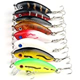 VERY100 Lot8Pcs Multi Minnow Fishing Lures Bass Crankbait Tackle Hook 3.6g 5cm 1.97