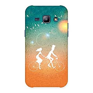 Impressive Cycle Couple Dream Multicolor Back Case Cover for Galaxy J1