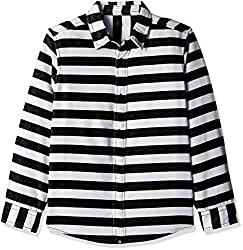 United Colors of Benetton Boys Shirt (16A5SHRTC035I902M_White and Black_M)