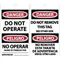 """NMC RPT90G """"DANGER - DO NOT OPERATE"""" Bilingual Accident Prevention Tag with Brass Grommet, Unrippable Vinyl, 3"""" Length, 6"""" Height, Black/Red on White (Pack of 25)"""