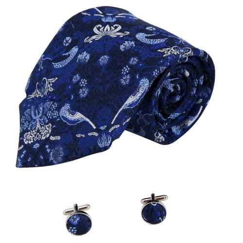 A1075 Navy Patterned Designer Presents Mens Birthday Gift Idea Silk Tie Cufflinks Set 2PT By Y&G