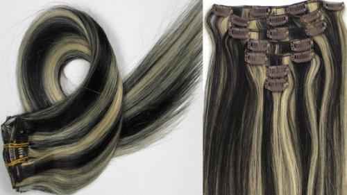 Clip-In-Extensions für komplette Haarverlängerung - hochwertiges Remy-Echthaar - 70g - 38 cm -7tlg- Nr.1b613 mischen