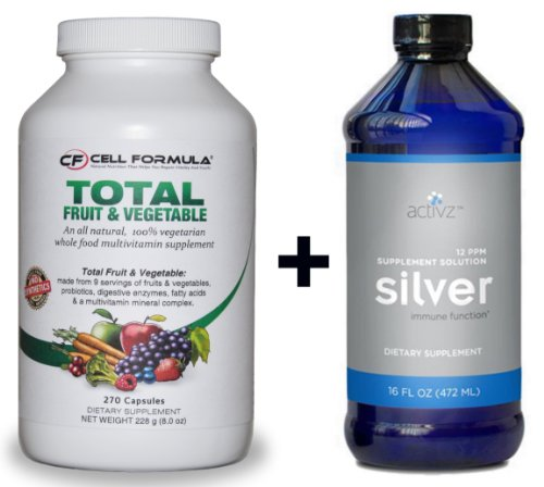 9 a DAY Plus / Total Fruit & Vegetable with Free - Activz 16 Fl, Silver Liquid Solution (12ppm)