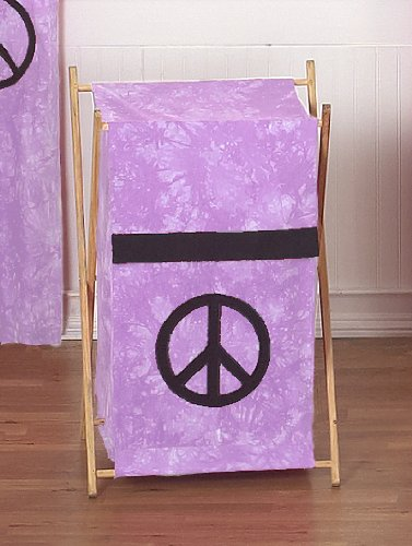 Baby and Kids Clothes Laundry Hamper for Purple Groovy Peace Sign Tie Dye Bedding