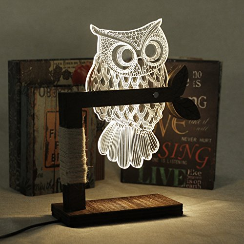 Eshion Home 3D Owl Shape LED Desk Table Light Lamp Night Light US Plug (White)