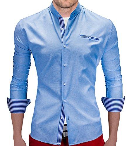 Camicia a maniche lunghe BetterStylz Domingo Slim Fit collo 3 tempo libero-camicia aizati dinotech colori (S-XXL) Hell Blau 50