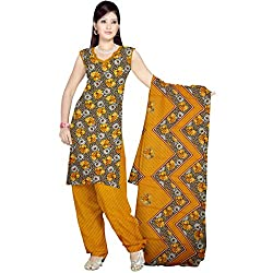 Sonal Trendz Women's Polyester Dress Material (STSON100684_Yellow)