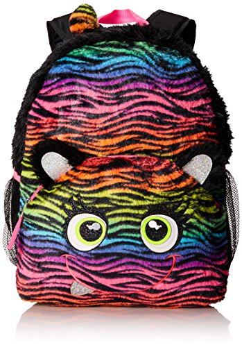 Mystic Apparel Rainbow Zebra Plush Backpack, Black/Rainbow, One Size