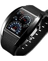 aLLreli Blue LED watch Gift Sports Car Meter Dial Men Fashion Outing Digital Wrist Watch