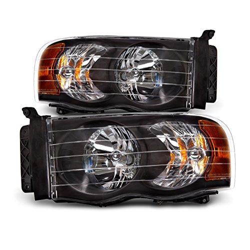 Dodge Ram 1500/2500/3500 Black Headlights Set w/Xenon Bulbs (2003 Dodge Headlights compare prices)