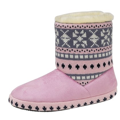 ladies fur trim knited boot slippers (uk 5/6 euro 38/39, pink)