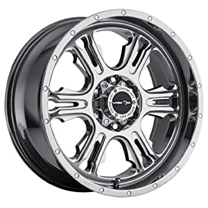 18 inch 18×9 Vision Off-Road Rage Phantom Chrome wheel rim; 8×6.5 8×165.1 bolt pattern with a +12 offset. Part Number: 397-8981PC12