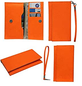 Jo Jo A5 G8 Leather Wallet Universal Pouch Cover Case For Nokia Lumia 635 Orange