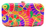 Purpledip Gujrati embroidery Women's Clutch Multicolor(purse15c)
