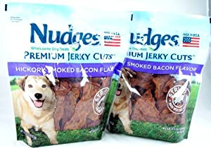 Nudges Dog Treats, Premium Jerky Cuts Hickory Smoked Bacon, 18 Ounces (Pack of 2)