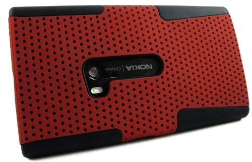 Mylife (Tm) Dark Crimson Red And Matte Black Perforated Mesh Series (2 Layer Neo Hybrid) Slim Armor Case For The Nokia Lumia 920, 920.2, 920T And 920 4G Camera Smartphone By Microsoft (External Rubberized Hard Shell Mesh Piece + Internal Soft Silicone Fle