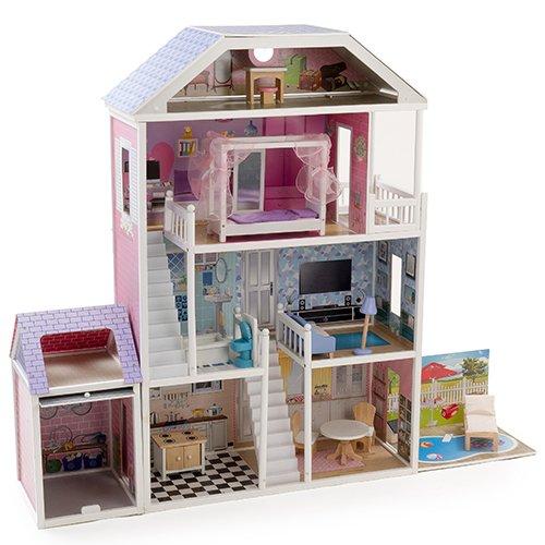 Mamakiddies casa delle bambole a 4 piani in legno for 3 piani di garage per auto con stanza bonus