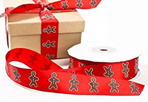 "7/8"" Wide Whimsical Red Gingerbread Man Christmas Satin Ribbon- 25 Yard Spool"