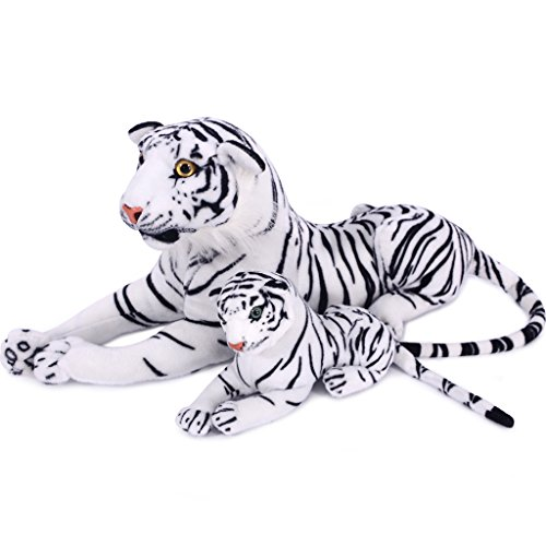 VERCART 27.5 inches Giant Realistic Stuffed Animals Soft Plush Toy White Tiger for Kids Birthday Gifts (with A Small Tigger) (How To Draw Winnie The Pooh compare prices)