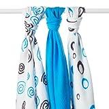 XKKO Spirals&Bubbles - Pack de 3 muselinas de bamb�, espirales y burbujas magenta, 70 x 70 cm, 90 gramos