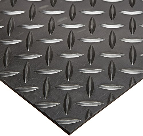Rhino Mats SBD-424-3648 Diamond Plate Pattern Rubber Insulating Switchboard Mat, 3' Width x 4' Length x 1/4