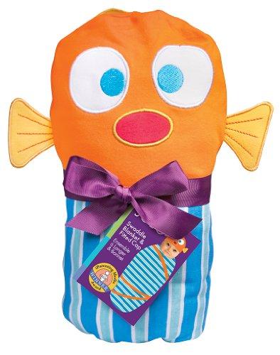 Sozo Baby-boys Newborn Fish Swaddle Blanket and Cap Set, Blue/Orange, One Size - 1