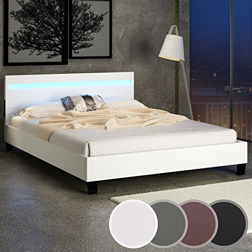 miadomodo lit double en simili cuir avec clairage led beige 180 x 200 cm coloris et. Black Bedroom Furniture Sets. Home Design Ideas