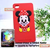 Licensed 3D Japan Disney Minnie Mouse Red iPhone 4 4G 4S Soft Silicone Protective Back Case cover