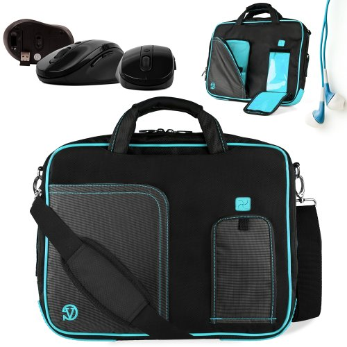 Innovative 15 Inch Aqua Marine Blue Pindar Travel Friendly Laptop Bag For The Samsung Series 3 Np305V5A1 Ultrabook With Extra Features: Reinforced Construction, Velcro Charging Port To Charge Without Removing Device, Apple Ipad Sized Pocket For Tablets Or
