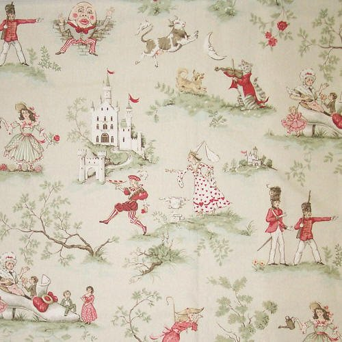 Covington over the moon antique red toile for Vintage childrens fabric by the yard