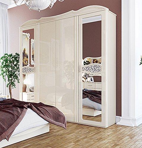 Kleiderschrank Schrank 4-turig mit Spiegel 206 cm 65101 creme Hochglanz
