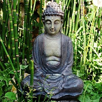 Ornamental Weather are proud to present Decorative Buddha Garden Ornament In Stone Look Resin