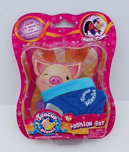 """Teacup Piggies Fashion Set ~ Blue """"Teacup Piggies"""" Shirt and Purple Shoes"""
