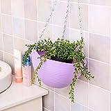 Hook Hanging Chain Flower Pot Basket Planter for Garden Home Decor (Purple)