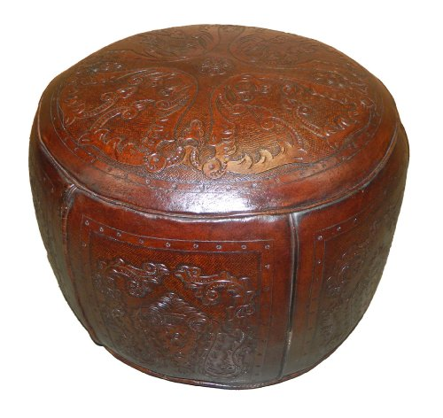New World Trading Large Ottoman Round, Colonial, Antique Brown