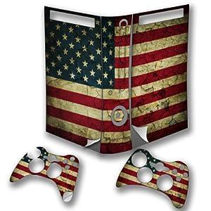 Drapeaux USA 5, Pays, Wrap Around Autocollant Skin Sticker de Protection Peau Vinyl Decal avec Motifs Colorés et Effet de Cuir pour Xbox 360 Fat Set Console de Jeu avec deux Controllers.