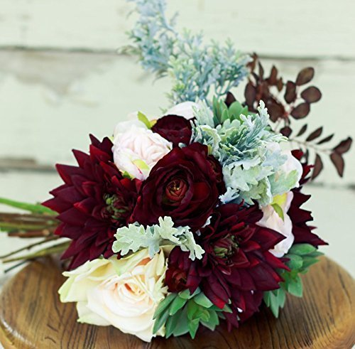 Silk Succulent Plum Burgundy Wedding Bouquet with Dahlias Ranunculus and Peony - Silk Bouquet