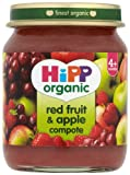 HiPP Organic Stage 1 From 4 Months Red Fruit and Apple Compote 6 x 125 g (Pack of 2, Total 12 Pots)