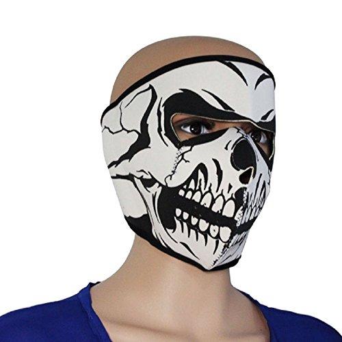 Lightweight 2 in 1 Reversible Ninja Soft Neoprene Motorcycle Full Face Ear Protection Mask Skull Facemask Winter Warm Outdoor Sport Ski Snow Snowboard Velcro Adjustable