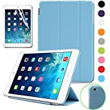 BESDATA Ultra Thin Magnetic Smart Cover (Wake/Sleep Function) & Translucent Back Case for Apple iPad Mini 2 / Mini 3 (with Retina Display) + Screen Protector + Cleaning Cloth + Stylus, Sky Blue - PT3102