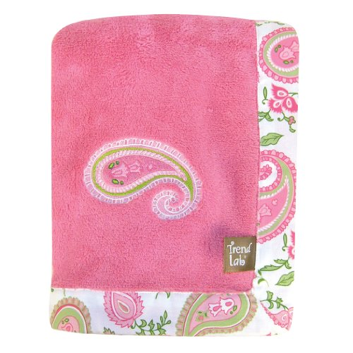 Trend Lab Paisley Park Coral Fleece Framed Receiving Blanket, Pink