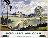 British Railways Travel Art Poster, Northumberland Coast, See England by Rail