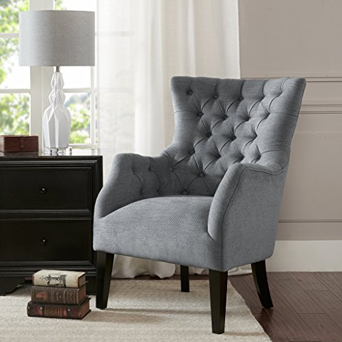 Button Tufted Wing Chair Hannah/Grey