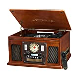Victrola Nostalgic Aviator Wood 8-in-1 Bluetooth Turntable Entertainment Center, Mahogany