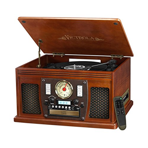 Victrola 7-in-1 Bluetooth Record Player with USB Recording, Mahogany