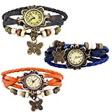 Combo of 3 VB-310 Vintage Butterfly Orange + Black + Blue
